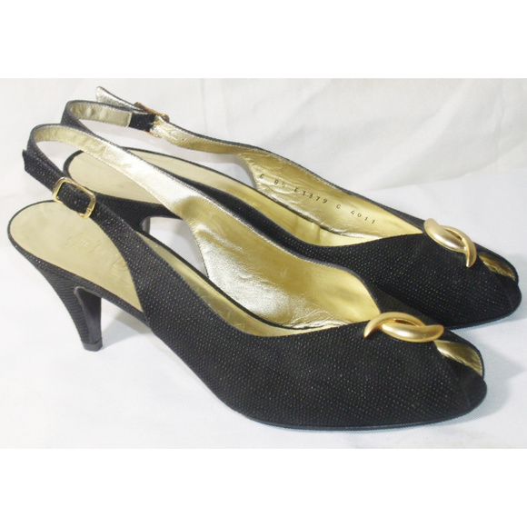 22e8ab04cb08 Bruno Magli Shoes - Magli Textured Black Slingback Peep Toe Heel 8.5